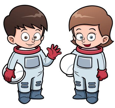 illustration of Cartoon astronaut kids