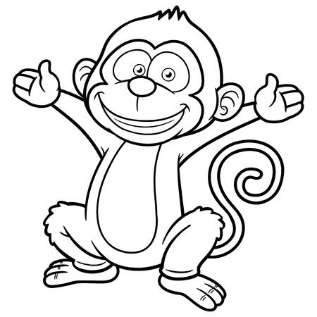 Vector illustration of Cartoon Monkey - Coloring book: Royalty-free ...