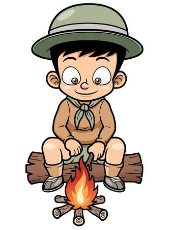 illustration of Boy camping