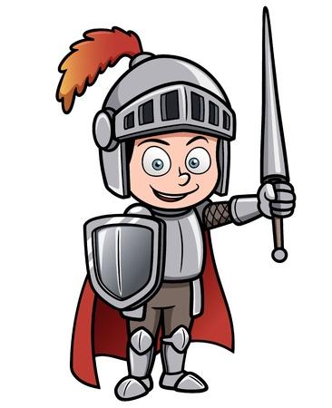 Illustration pour Vector illustration of Cartoon knight - image libre de droit