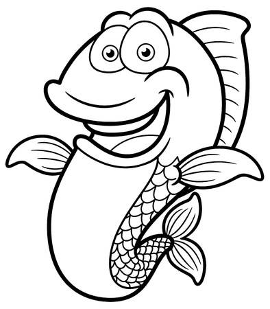 illustration of Cartoon Happy fish - Coloring book