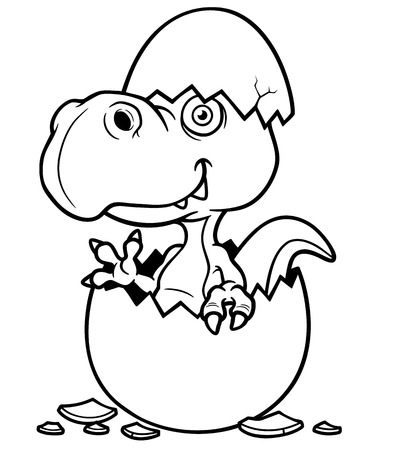 Vector illustration of Cartoon Dinosaur baby - Coloring book