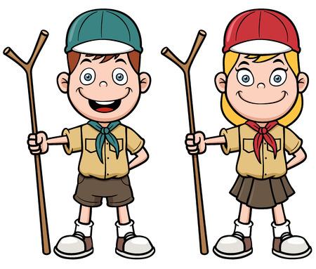 Vector illustration of Scout kids