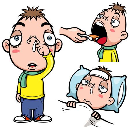 Vector illustration of sick boy cartoon