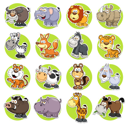Photo for illustration of Animals set Cartoon - Royalty Free Image