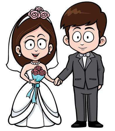 Foto de Vector Illustration of Cartoon Wedding couple with floral bouquet - Imagen libre de derechos