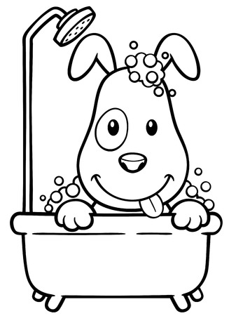 Vector illustration of Cartoon Dog Bathing - Coloring book