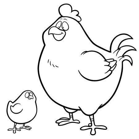 Vector illustration of Hen and chick - Coloring book ...