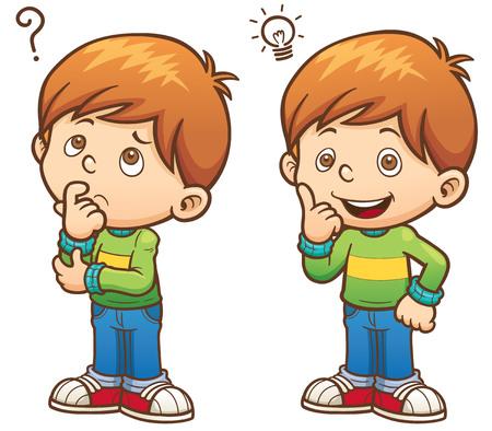 Illustration pour illustration of Cartoon Boy thinking - image libre de droit