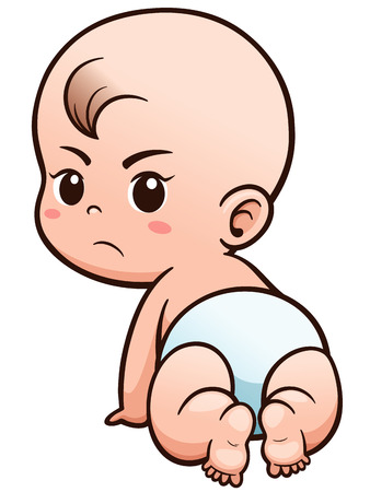 Illustration for Vector Illustration of Cartoon Baby learn to crawl - Royalty Free Image