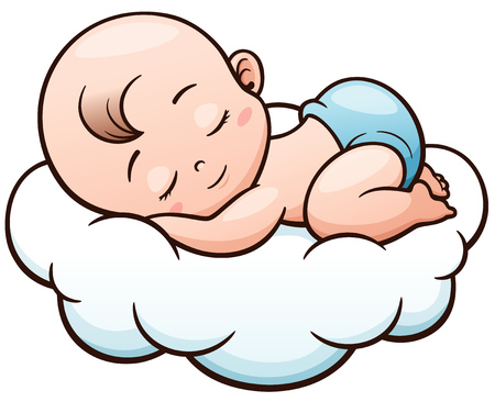 Illustration for Vector Illustration of Cartoon Baby sleeping on a cloud - Royalty Free Image