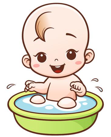 Illustration pour Illustration of Cartoon Cute Baby take a bath - image libre de droit