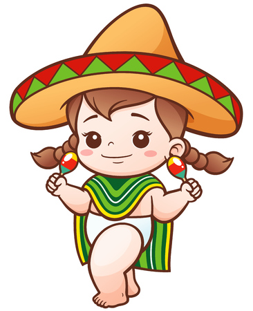 Illustration of Cartoon Cute Baby Girl wear Mexicanのイラスト素材