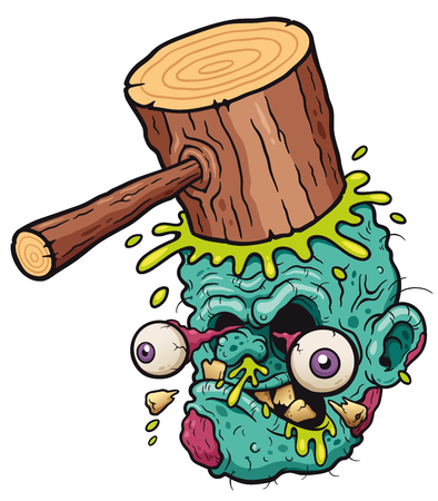 Illustration for Vector illustration of Cartoon funny hammer banging zombie head - Royalty Free Image