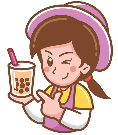 Ilustración de Vector illustration of Cartoon Female presenting Bubble tea - Imagen libre de derechos