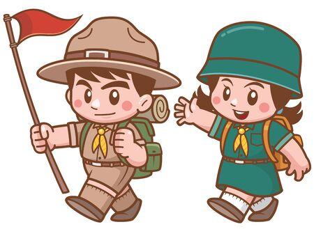 Ilustración de Vector illustration of Scout kids character - Imagen libre de derechos