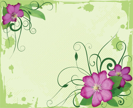Flowers and waves. Illustration vector