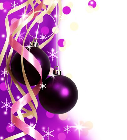 purple christmas baubles against white background