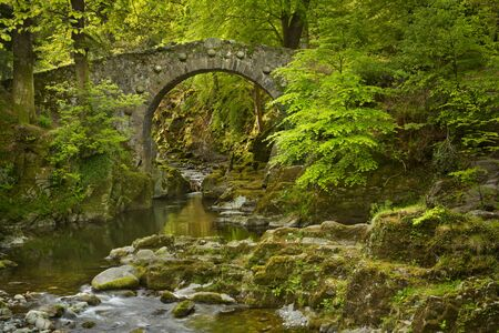 Photo for Foley's Bridge over the Shimna River in Tollymore Forest Park, Northern Ireland. - Royalty Free Image
