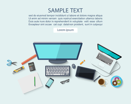 Workplace concept ,Flat design,vector