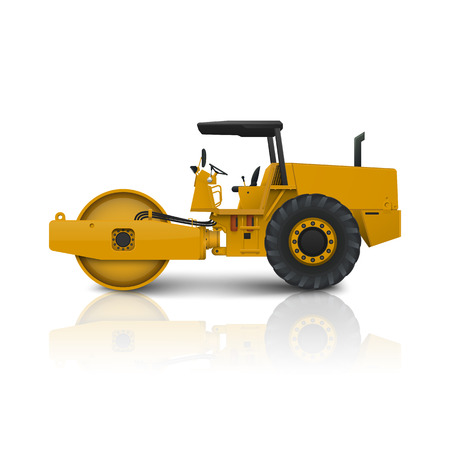 Road roller isolated on white background