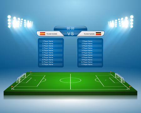 Illustration pour Soccer field with scoreboard - image libre de droit