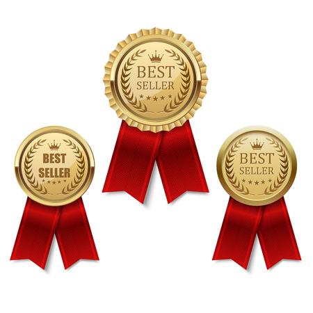 Illustration pour Set of Best seller golden label - image libre de droit