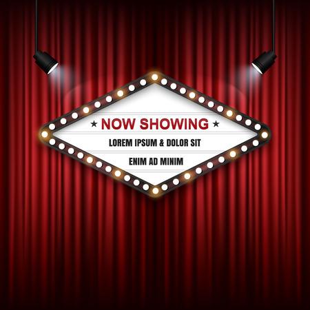 Illustration pour Showtime Sign, Theatre cinema Sign, Vector illustration. - image libre de droit