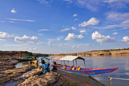 Tourist boat, Sam Phan Bhok in the Mekong River. Ubon Ratchathani, Thailand.