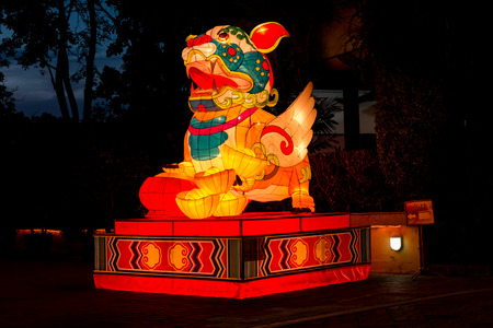 PATTAYA,THAILAND - APRIL 30 :The colorful Pixiu in night time in The Alangkarn lanterns festival 2015 in Pattaya,Thailand on 30 April 2015