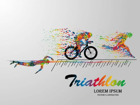 Photo for Visual drawing swimming, cycling and runner sport at fast of speed in triathlon game, colorful beautiful design style on white background for vector illustration - Royalty Free Image