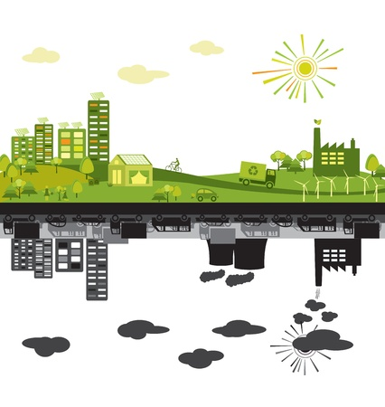 Green and polluted cities