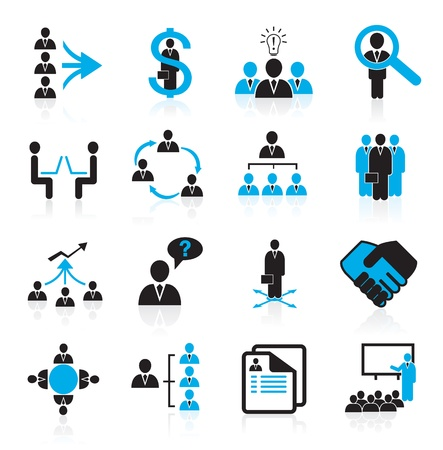 Illustration pour Set of 16 management,business and human resources icons - image libre de droit
