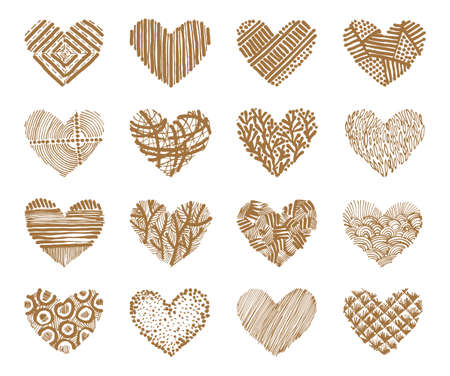 Illustration for Hand drawn set with stylized hearts on a white background. Vector illustration. - Royalty Free Image