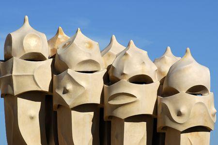 Face shaped chimneys on Gaudì Casa Pedrera