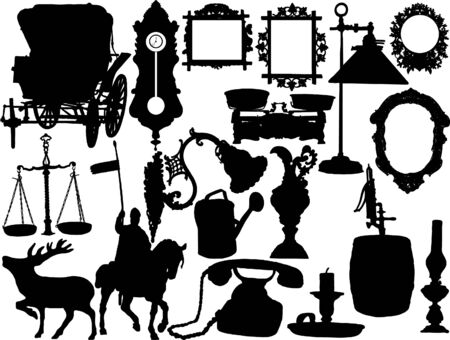 Vector silhouettes of the retro objects