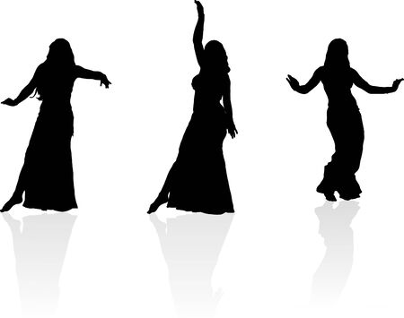 Three silhouettes of dancing girl