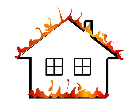 Burning home icon - vector illustration