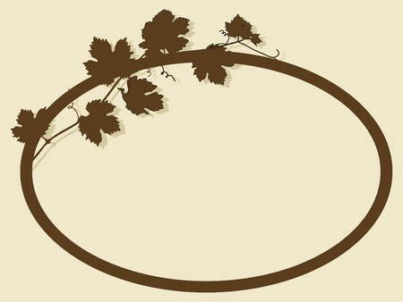 Oval frame with vine leaves