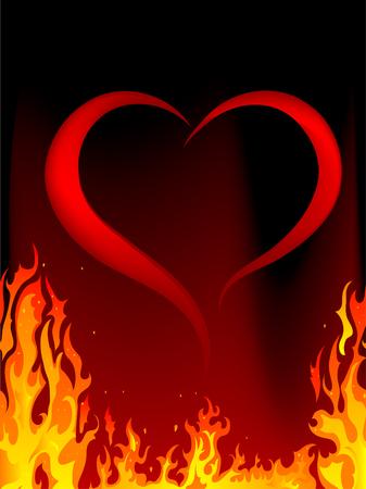 Blazing red heart - illustration