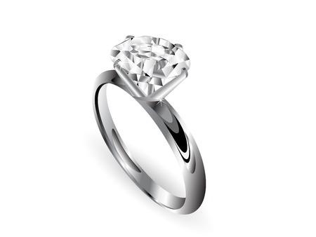 Diamond ring over white background