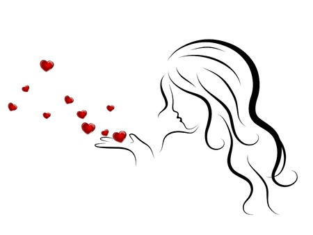 Silhouette of beauty woman blowing to red hearts