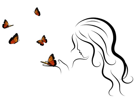 Silhouette of beauty woman blowing to butterflies