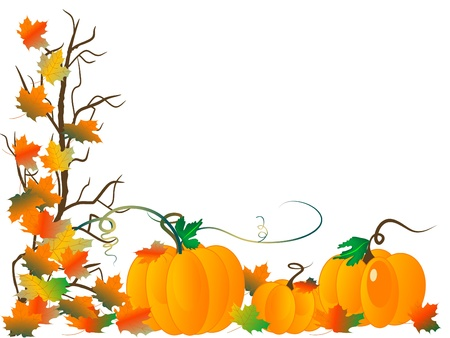 Abstract background with pumpkins and autumn leaves