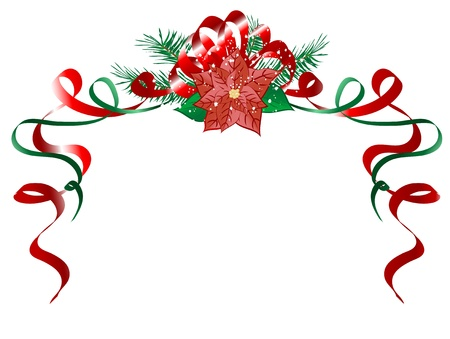 Christmas garland with red poinsettia