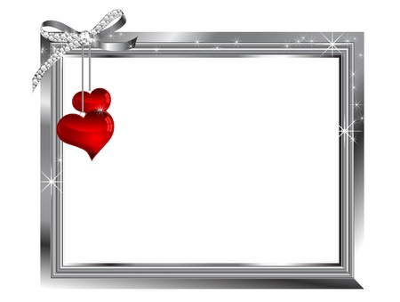 Silver frame and two glass hearts