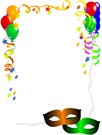 Illustration pour Carnival background with balloons, ribbons and face masks - image libre de droit