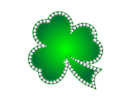 Green shamrock as the jewelry with diamonds