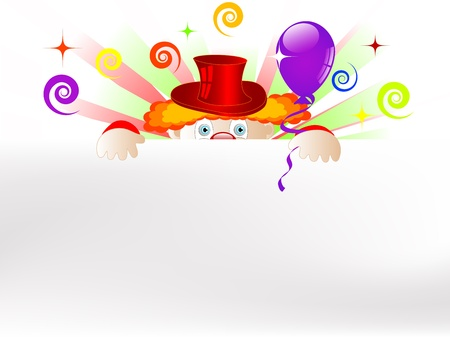 Clown with colorful party balloons and ribbons