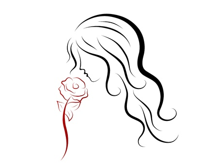 Silhouette of beautiful woman with red rose